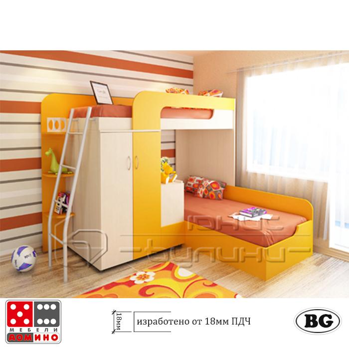 Двуетажно легло за детска стая Фреш От Мебели Домино