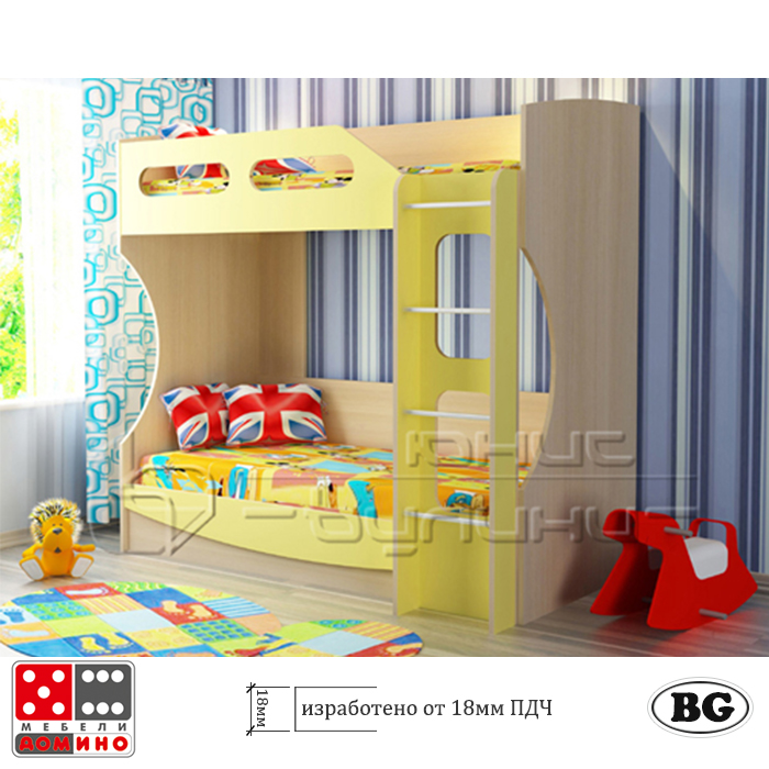 Двуетажно легло за детска стая От Мебели Домино