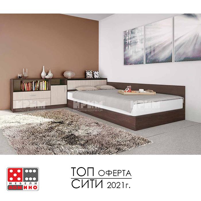 Легло спалня Приста и шкафове Сити 177 От Мебели Домино