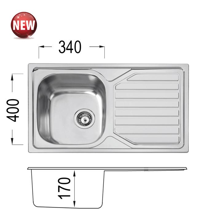 Кухненска мивка Серия Прайм PRIME 80 DB 17 OKP X От Мебели Домино