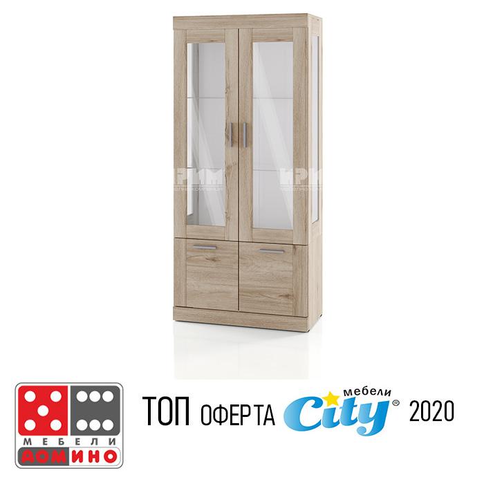Висок шкаф с витрина Сити 381 От Мебели Домино