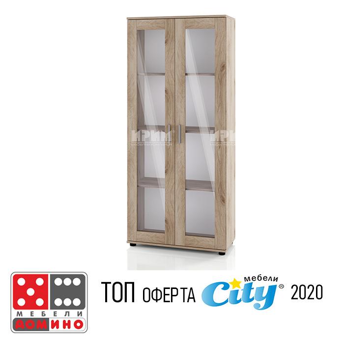 Висок шкаф с витрина Сити 345 От Мебели Домино