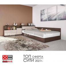 Легло спалня Приста и шкафове Сити 7003 От Мебели Домино