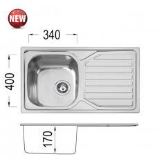 Кухненска мивка Серия Прайм PRIME 80 DB 17 OKP X От
