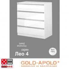 Скрин Лео 4 бяло гланц От Мебели Домино