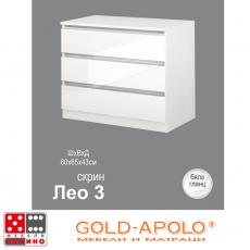 Скрин Лео 3 бяло гланц От Мебели Домино