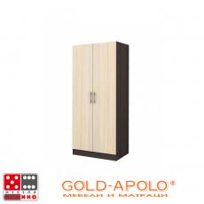 Двукрилен гардероб Аполо 1 тъмен дъб/пясъчен дъб От Мебели Домино