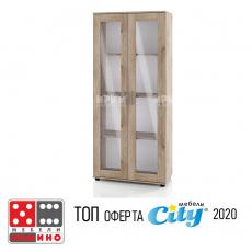Висок шкаф с витрина Сити 6207 От