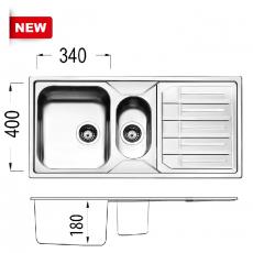 Кухненска мивка серия MELODIA ML100.2 BR18 От Мебели Домино